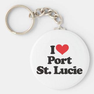 Amo al santo Lucie del puerto Llavero Redondo Tipo Pin