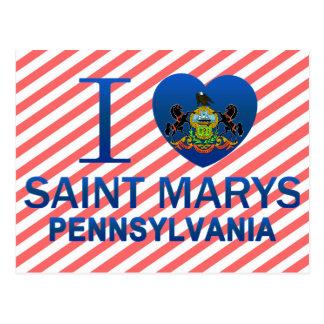 Amo al santo Marys, PA Tarjetas Postales
