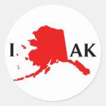 Amo Alaska - amor AK de I Pegatina Redonda