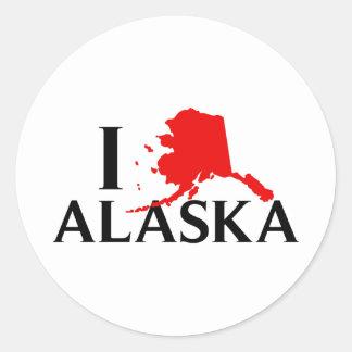 Amo Alaska - estado del amor AK de I Pegatina Redonda