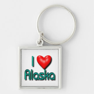 Amo Alaska Llavero Cuadrado Plateado