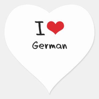 Amo alemán calcomanías corazones