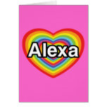Amo Alexa, corazón del arco iris Tarjetón
