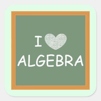 Amo álgebra pegatina cuadrada
