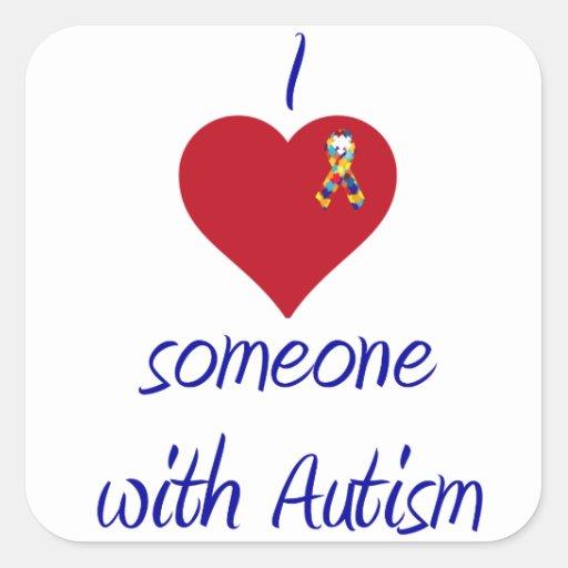 Amo alguien autismo de w pegatina cuadrada