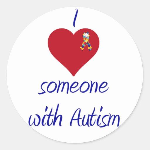 Amo alguien autismo de w pegatina redonda