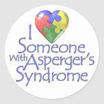 Amo alguien con Asperger Etiquetas Redondas