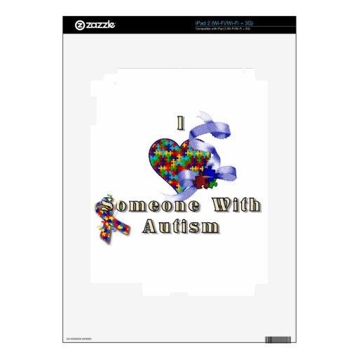 Amo alguien con autismo calcomanía para el iPad 2