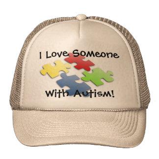 ¡Amo alguien con autismo! Gorros