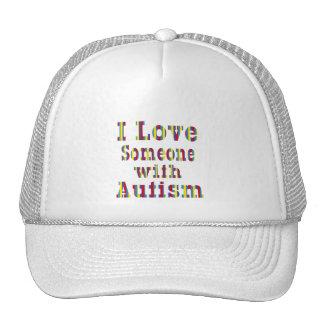 Amo alguien con autismo gorros bordados