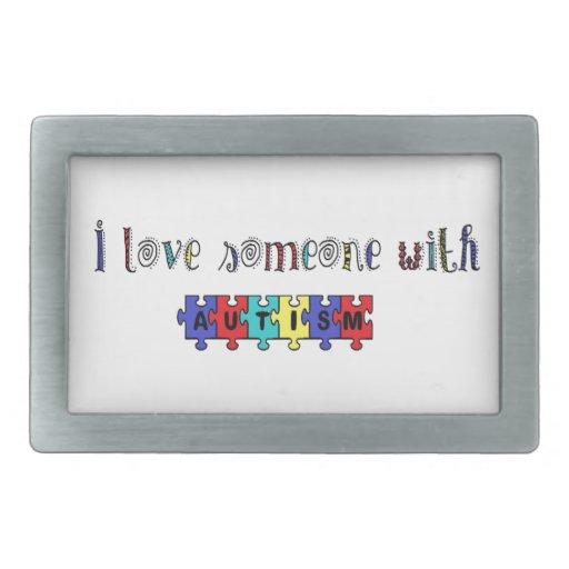 Amo alguien con autismo hebilla de cinturón rectangular