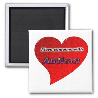 Amo alguien con autismo imán cuadrado
