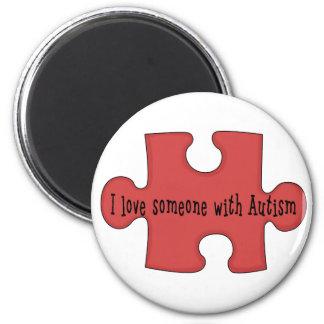 Amo alguien con autismo imán redondo 5 cm