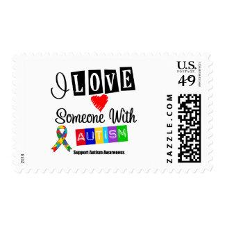 Amo alguien con autismo sello postal
