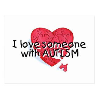 Amo alguien con el autismo (el corazón del postales