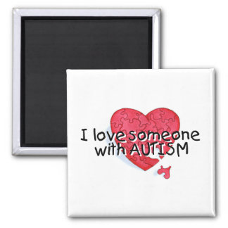 Amo alguien con el autismo (el corazón del rompeca imán cuadrado