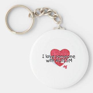 Amo alguien con el autismo (el corazón del rompeca llavero redondo tipo pin