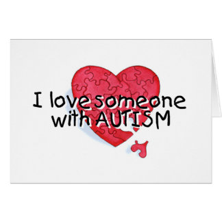 Amo alguien con el autismo (el corazón del rompeca tarjeta de felicitación
