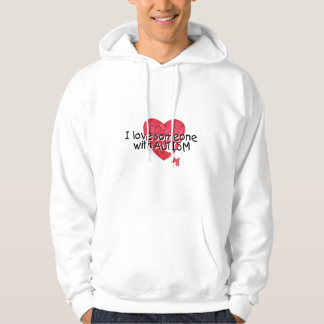 Amo alguien con el autismo (el corazón del suéter con capucha