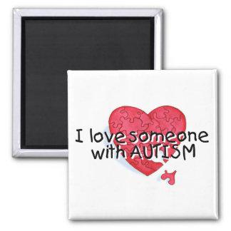 Amo alguien con el autismo (P Hrt) Imán Cuadrado