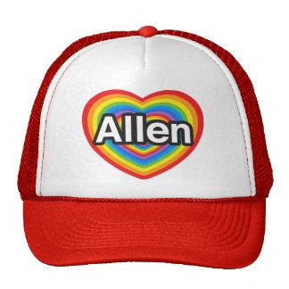 Amo Allen. Te amo Allen. Corazón Gorros Bordados