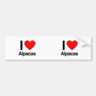 amo alpacas etiqueta de parachoque