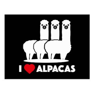 Amo alpacas tarjeta postal