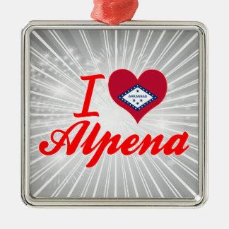 Amo Alpena, Arkansas Adorno Cuadrado Plateado