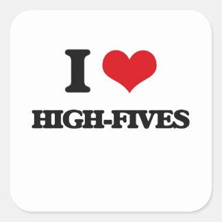 Amo Alto-Fives Pegatina Cuadrada