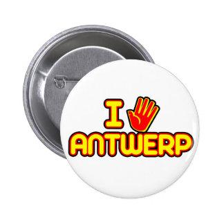 Amo Amberes (la mano) Pin Redondo De 2 Pulgadas