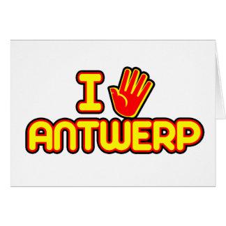 Amo Amberes (la mano) Tarjeta De Felicitación