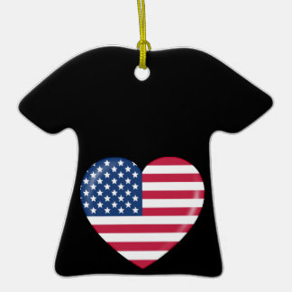 Amo América - corazón del americano patriótico Adornos De Navidad