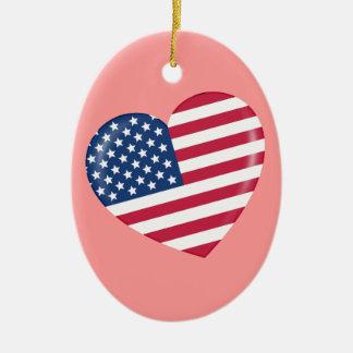 Amo América - corazón del americano patriótico Ornamentos De Reyes