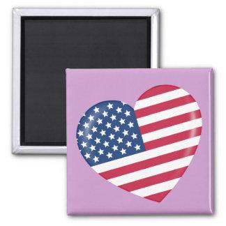 Amo América - corazón del americano patriótico Imán Cuadrado