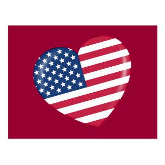Amo América - corazón del americano patriótico Postal