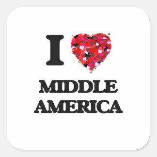 Amo América media Pegatina Cuadrada