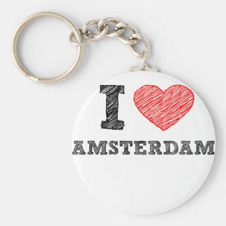 Amo Amsterdam Llavero Redondo Tipo Pin