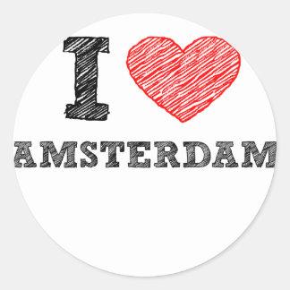 Amo Amsterdam Pegatina Redonda
