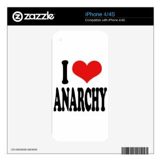 Amo anarquía calcomanía para el iPhone 4