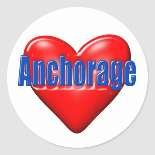 Amo Anchorage Alaska Pegatina Redonda