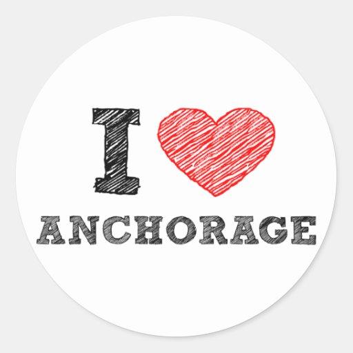 Amo Anchorage Pegatina Redonda