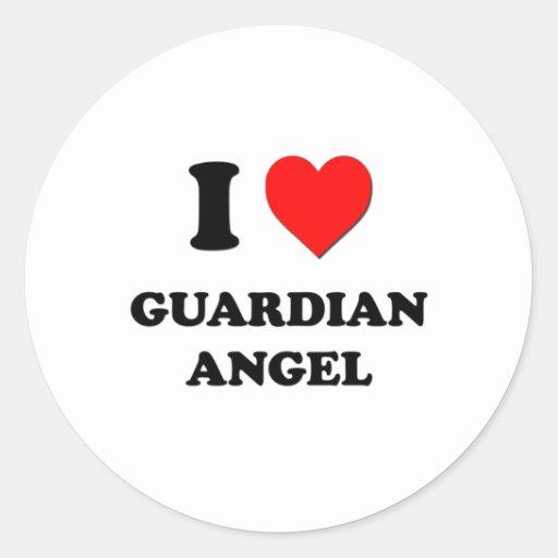 Amo ángel de guarda pegatina redonda