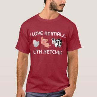 ¡Amo animales! Con la salsa de tomate Playera