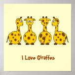 Amo animales del dibujo animado de las jirafas poster