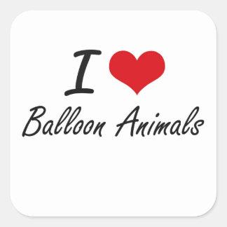 Amo animales del globo pegatina cuadrada
