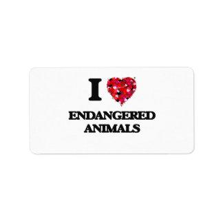 Amo ANIMALES EN PELIGRO Etiquetas De Dirección