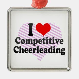 Amo animar competitivo adorno cuadrado plateado