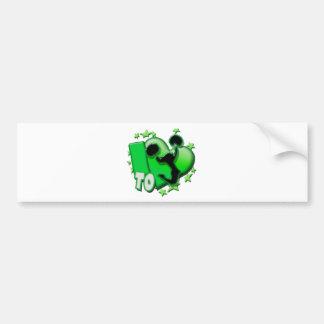 Amo animar (el verde) etiqueta de parachoque