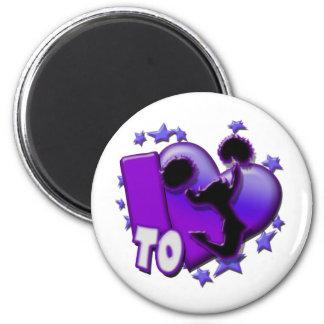 Amo animar la púrpura imán de frigorifico