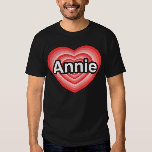 Amo Annie. Te amo Annie. Corazón Playera
